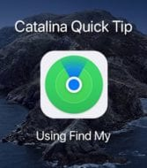 Find My app icon overlaying Catalina Dark Screensaver