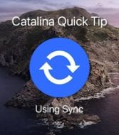 "Sync icon over catalina image with text saying ""Catalina Quick Tip: Using Sync"""