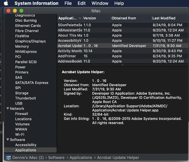 Screenshot of macOS Catalina Ayatem Information