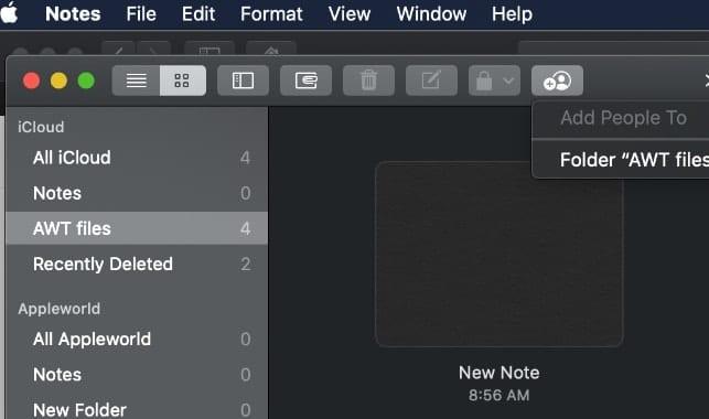 screenshot of mac notes iCloud folder sharing