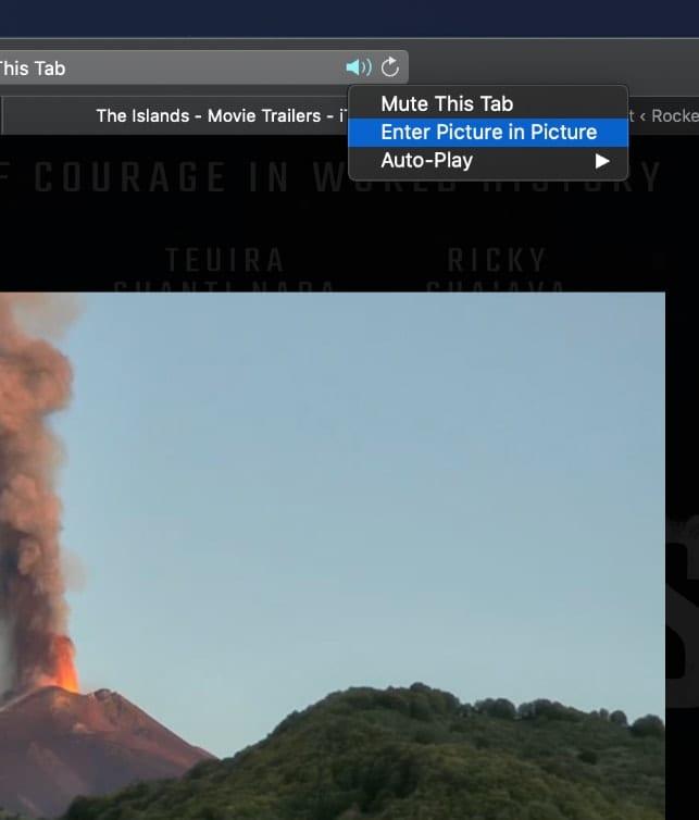 Screenshot of Picture in Picture menu in Safari 13