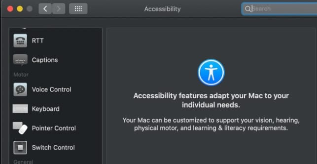 Accessibility Preference Pane