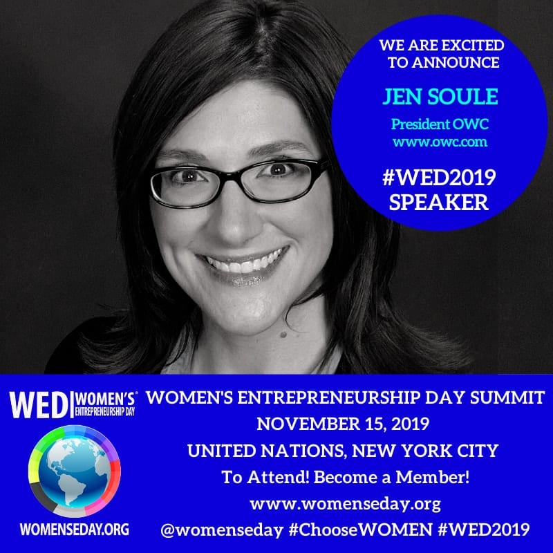 JenSoule speaking at Women's Entrepreneurship Day at United Nations