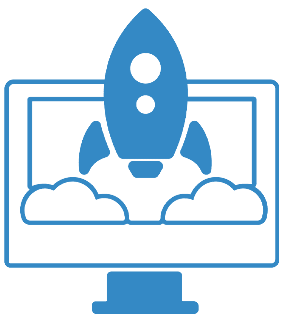 Transparent icon of an iMac and a Rocket