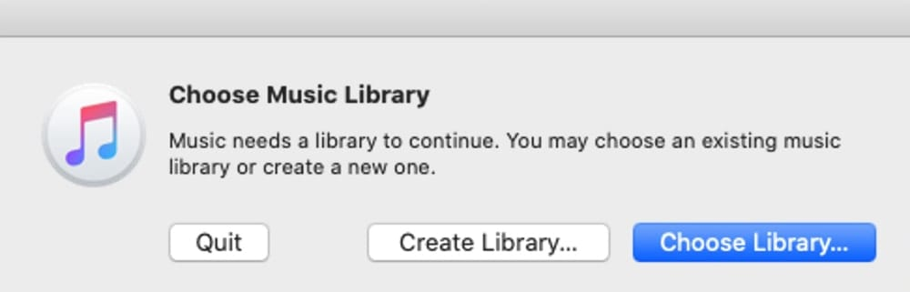 Choose Music Library dialog box.