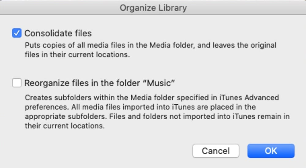 Organize the Music library by consolidating files.