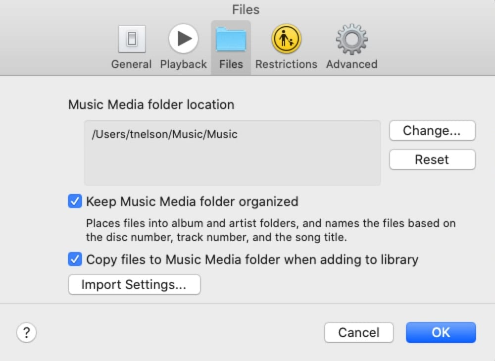 Music app preferences with File options displayed.