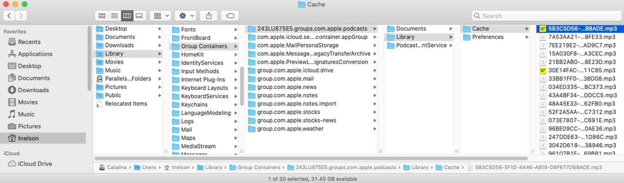 Finder window showing location of Podcasts apps cache folder.