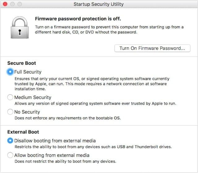 This dialog is available only on Macs equipped with the T2 security chip