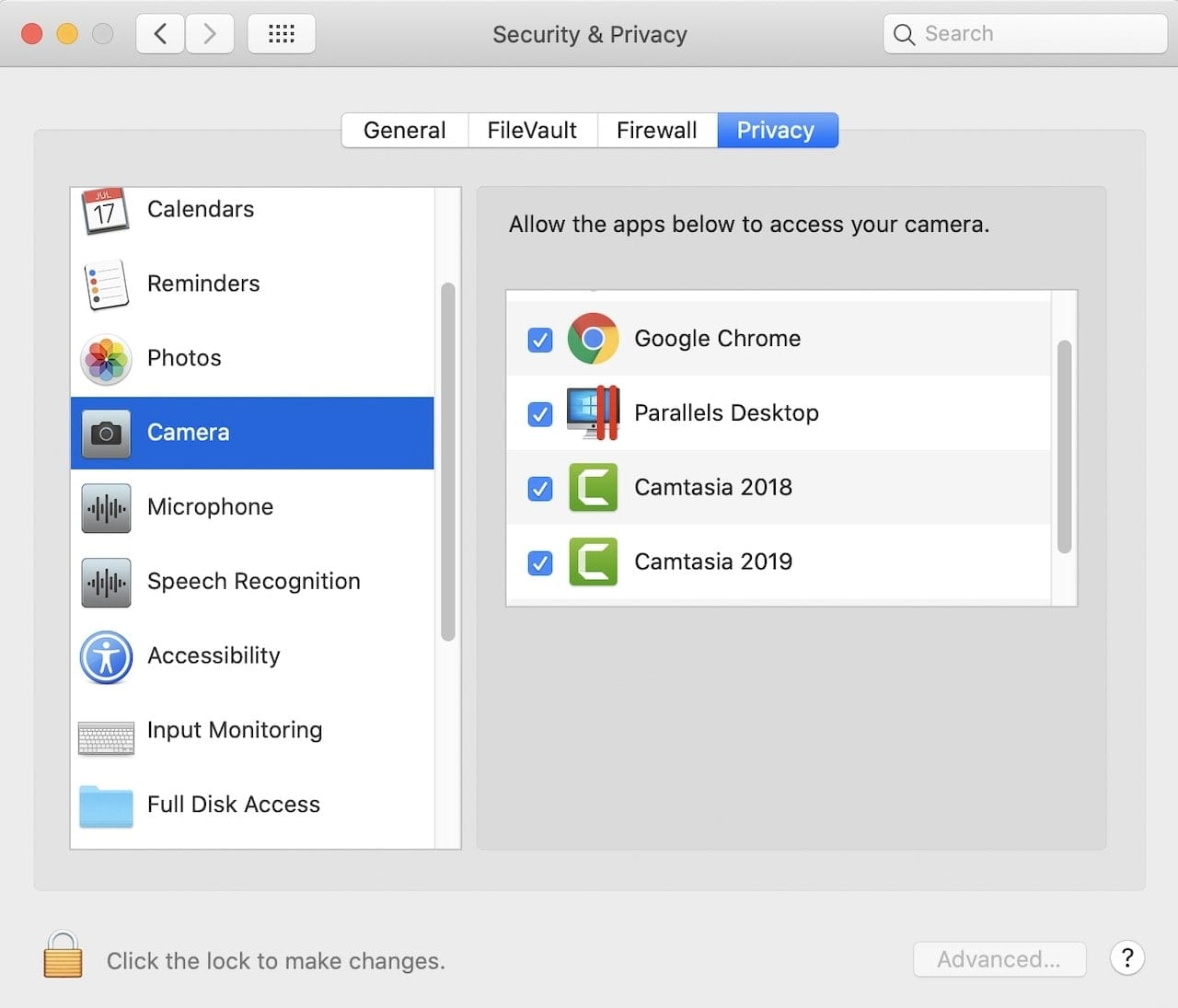 Permissions granted to apps can be revoked or changes in the Security & Privacy pane of System Preferences