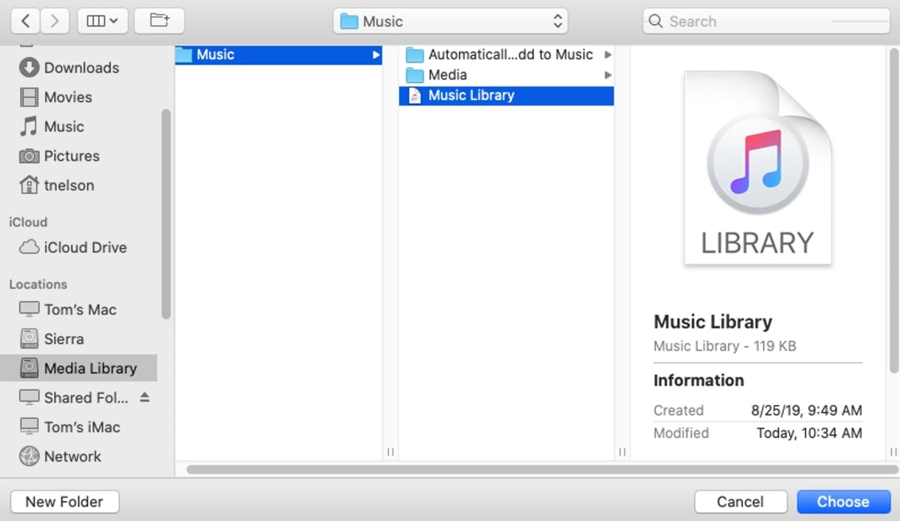 Finder window showing the Music Library file.