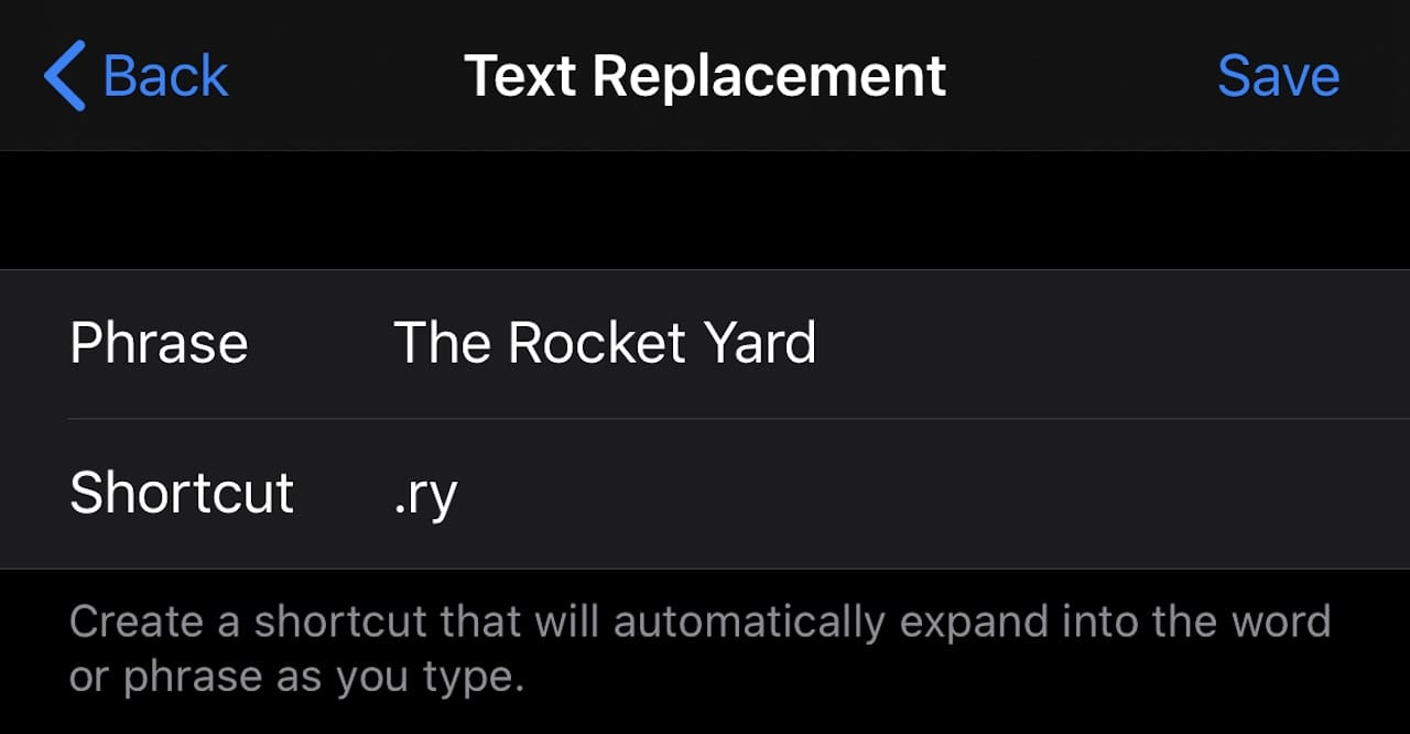 Text replacement in iOS provides a way to type long, frequently used phrases with just a shortcut