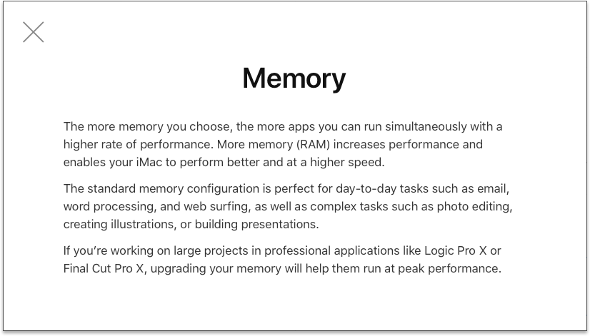 Screenshot of 27-inch iMac Memory Choice Helper