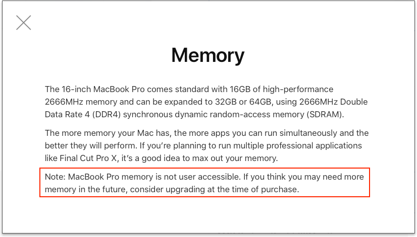 Screenshot of 16-inch MacBook Pro Memory Choice Helper