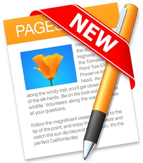 "macOS Pages icon with a read banner that says ""new"""