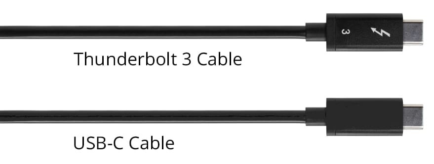 Image of a Thunderbolt 3 cable and USB-C cable side-by-side to show that they look identical