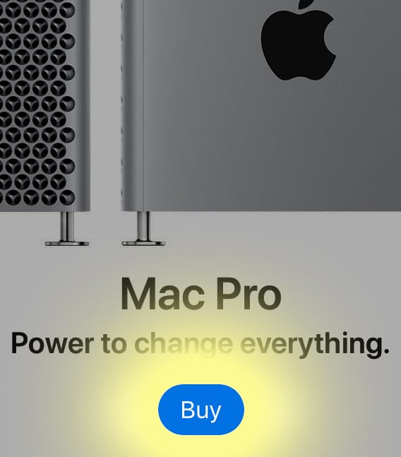 Mac Pro purchase page with blue buy button highlighted