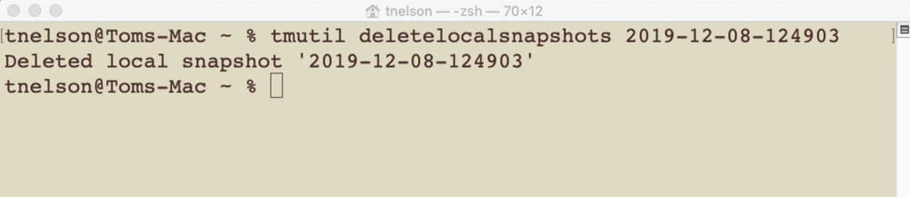 Terminal command to delete a snapshot.