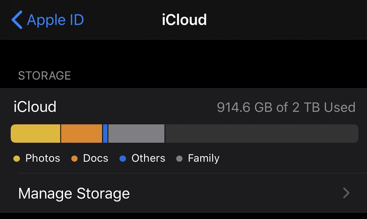 Click the Manage Storage button to determine which apps are using iCloud storage and to manage how that storage is used.