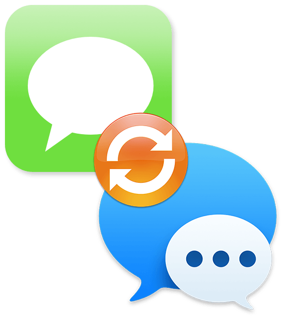 blue macOS Messages icon and green iOS Messages icon linked by orange sync icon