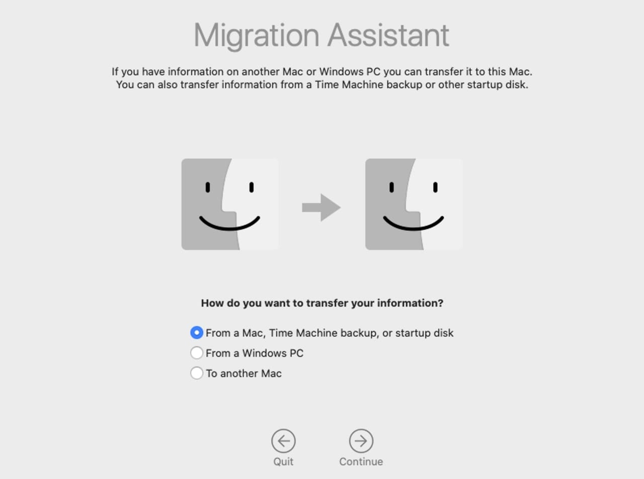 Migration Assistant transfer type.