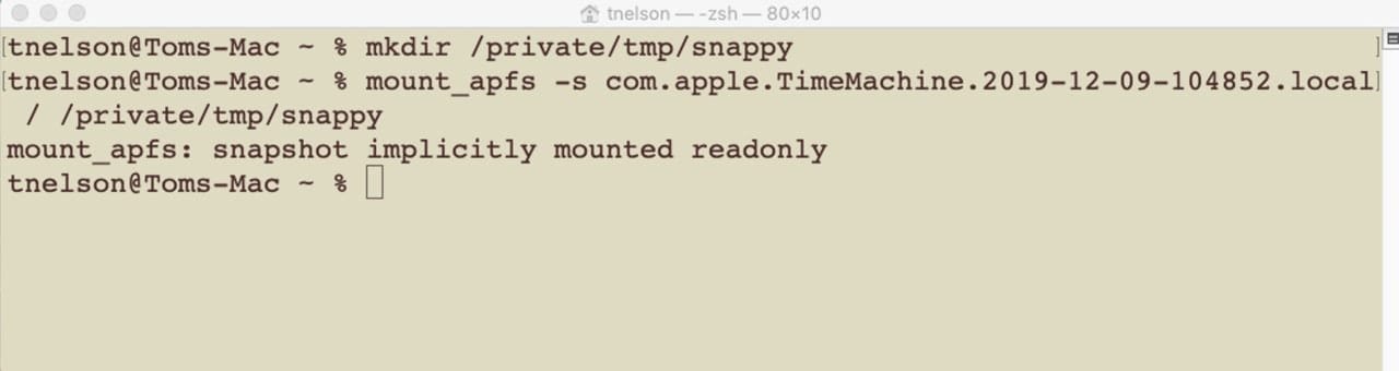 Terminal command to mount an APFS snapshot on the Mac's desktop.