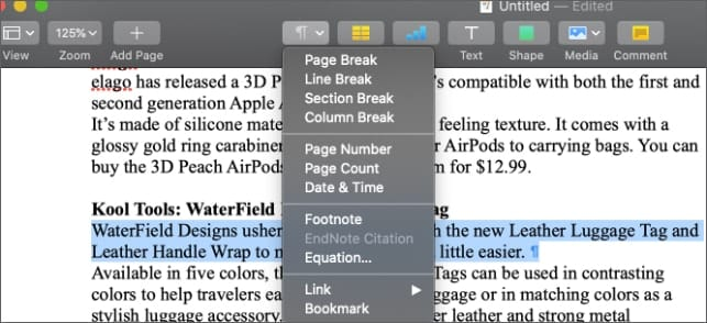 macOS Pages Insert dropdown menu