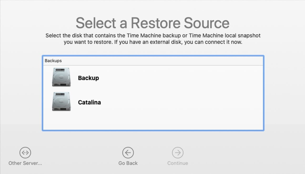 Selecting a source for Time Machine restore.