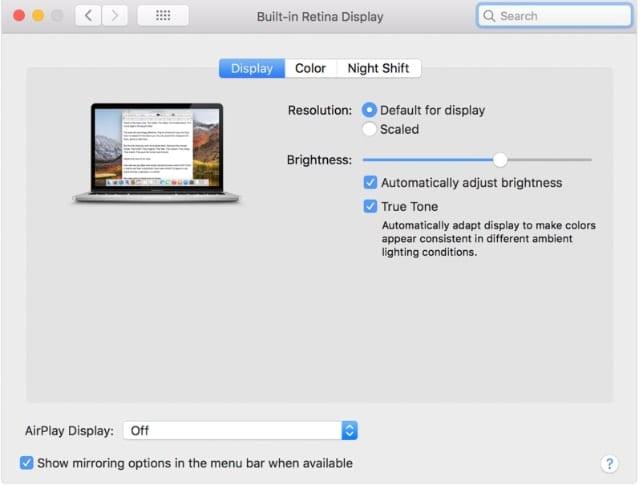 Screenshot of macOS Catalina Display preferences on a Mac