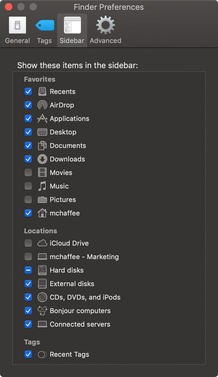 macOS Finder Preferences window with Sidebar tab selected