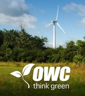 OWC Think Green with wind turbine