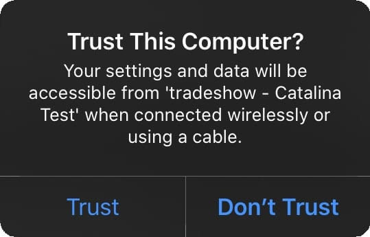 """Trust this computer"" popup window on iPhone."