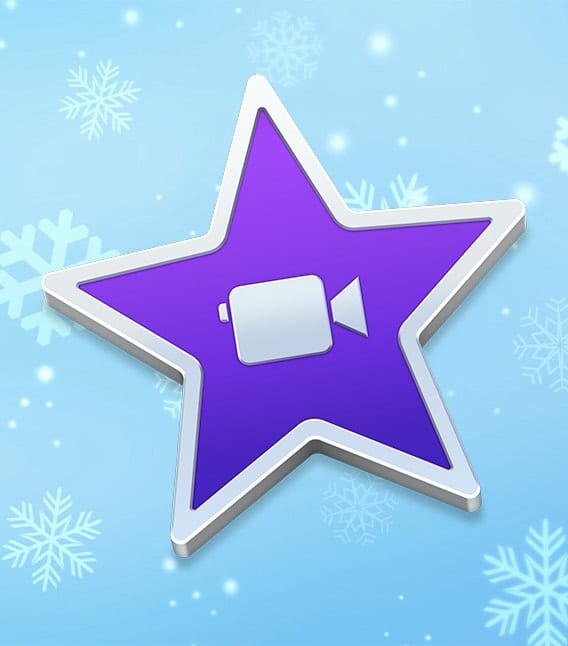 iMovie icon on a blue snowy background