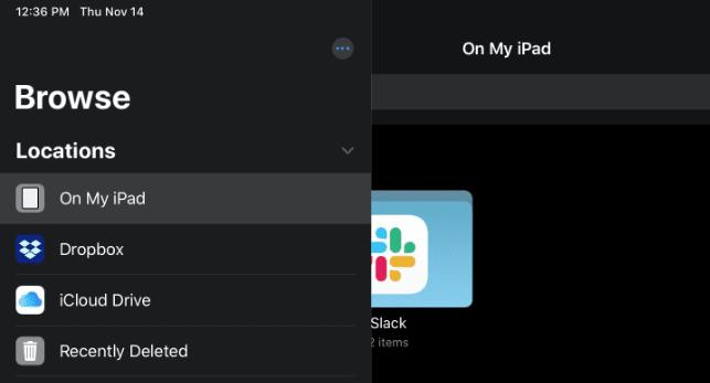 Screenshot of iPad Files App