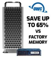 "Picture of a 2019 Mac Pro with OWC memory sayoing ""Save up to 65% vs factory memory"""