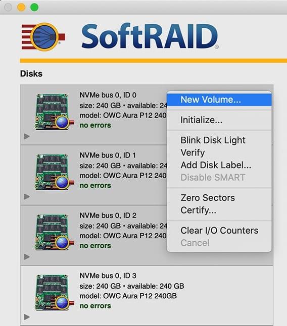 SoftRAID window showing dropdown menu with New Volume