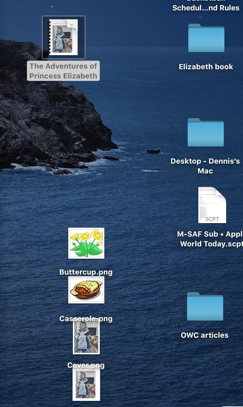 An example of a Mac Desktop before enabling Stacks