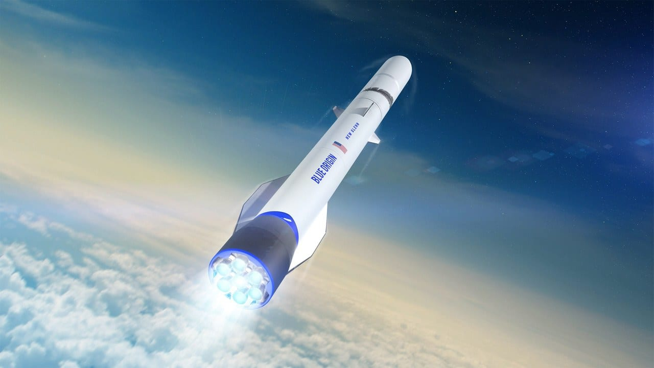 Blue Origin New Glenn launch vehicle. Artist's conception via BlueOrigin.com