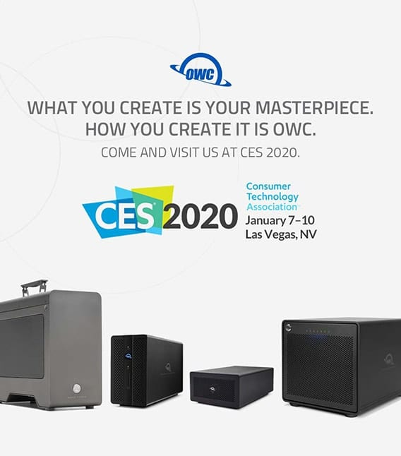 CES 2020 logo over hotel picture