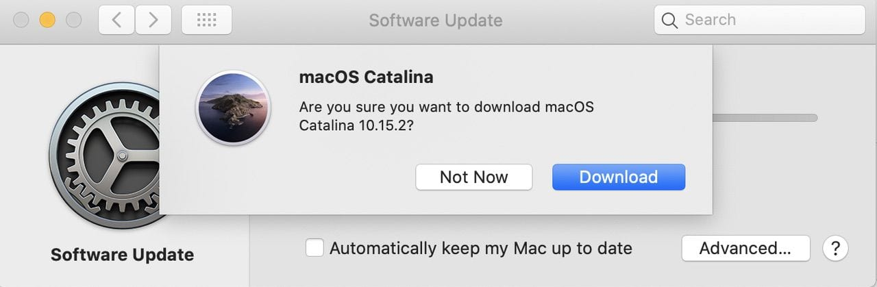 Software Update asks you to verify that you want to download a copy of macOS Catalina