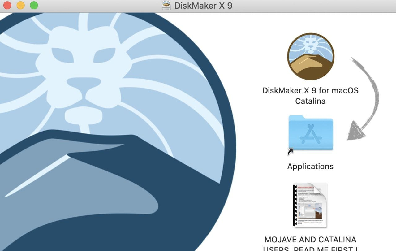 The DiskMaker X 9 Installer. Drag the icon to the Applications folder alias as shown.