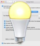 Mac Energy Saver lightbulb icon on top of Energy Saver Preferance Pane