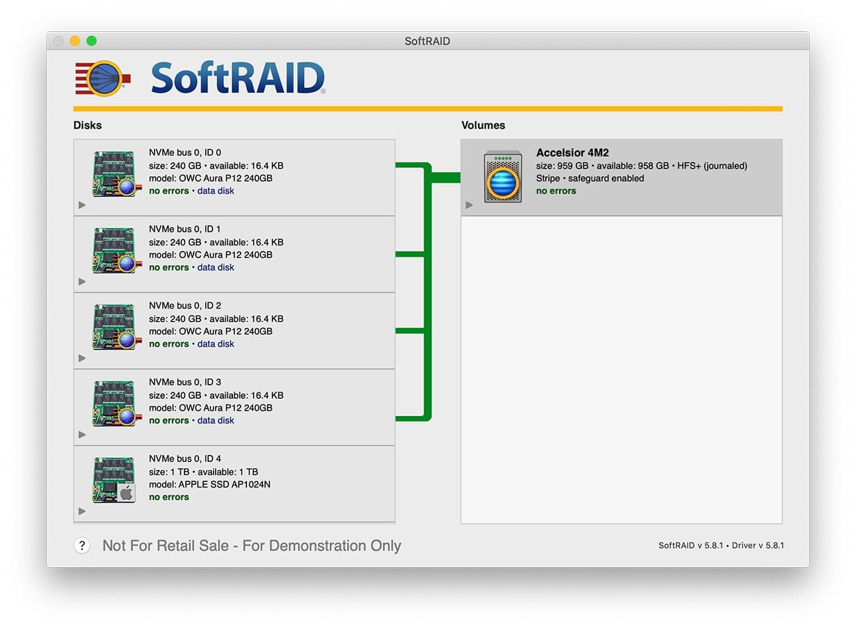Screenshot of SoftRAID with Accelsior 4M2