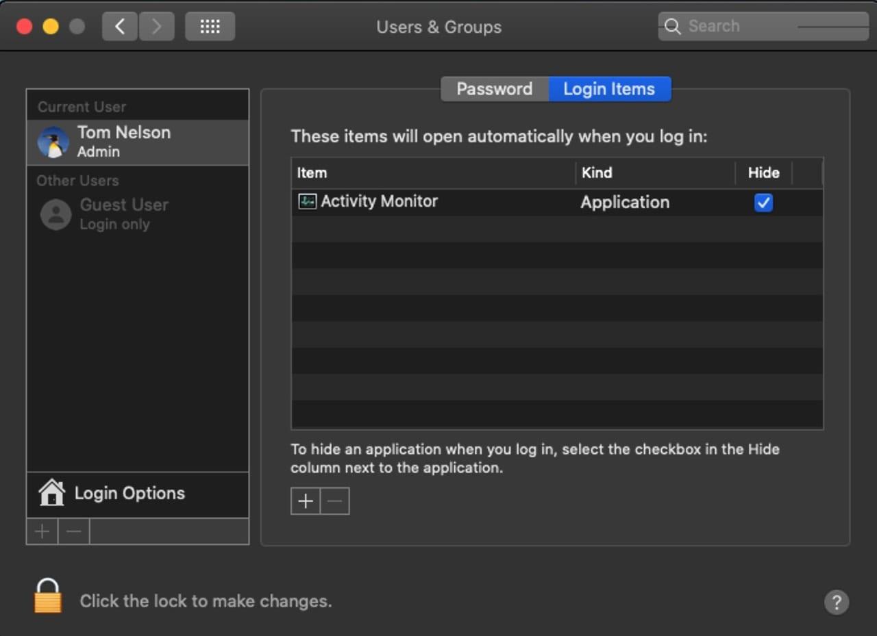 Login Items option to hide an apps window.
