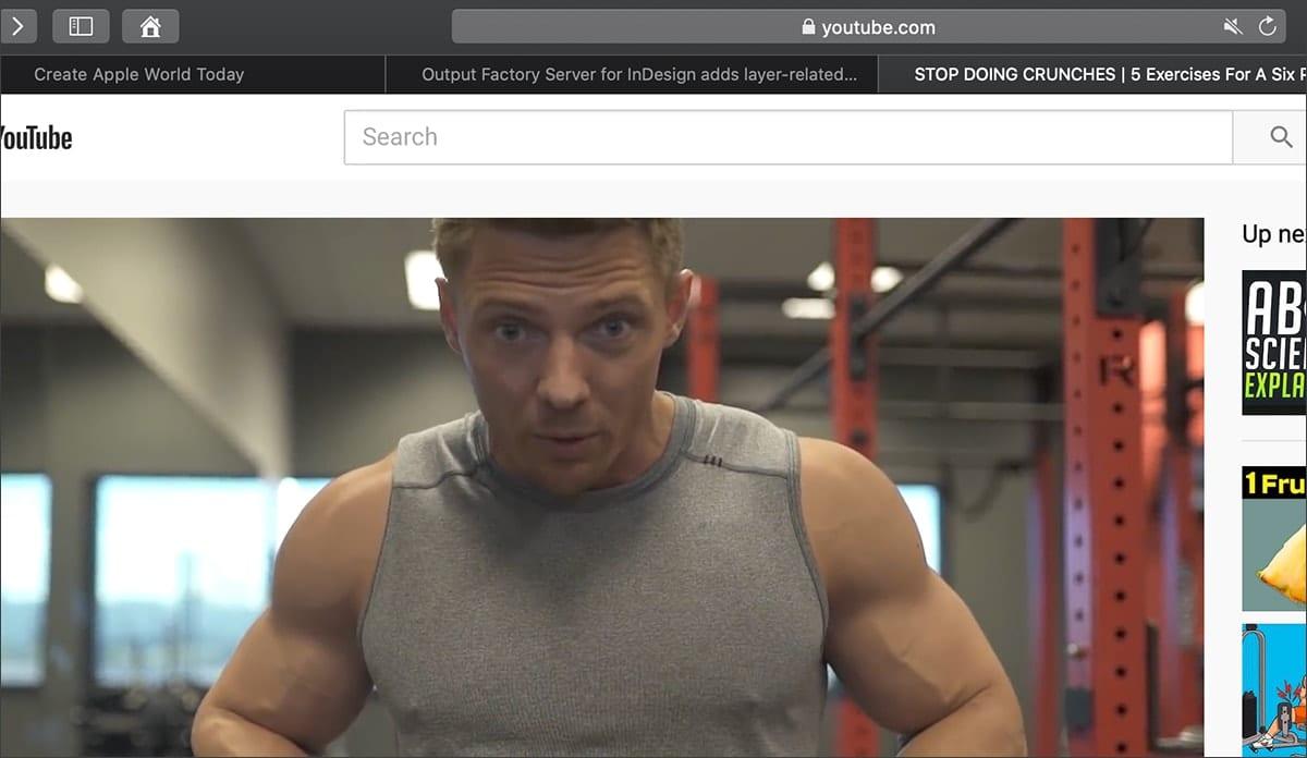 Screenshot of youtube showing safari tabs for muting