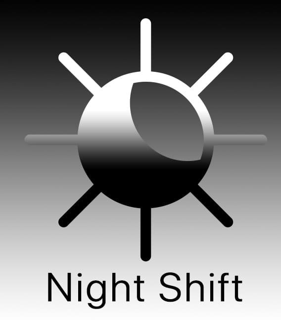 """Mac night Shift Logo with text saying """"Night Shift"""""""
