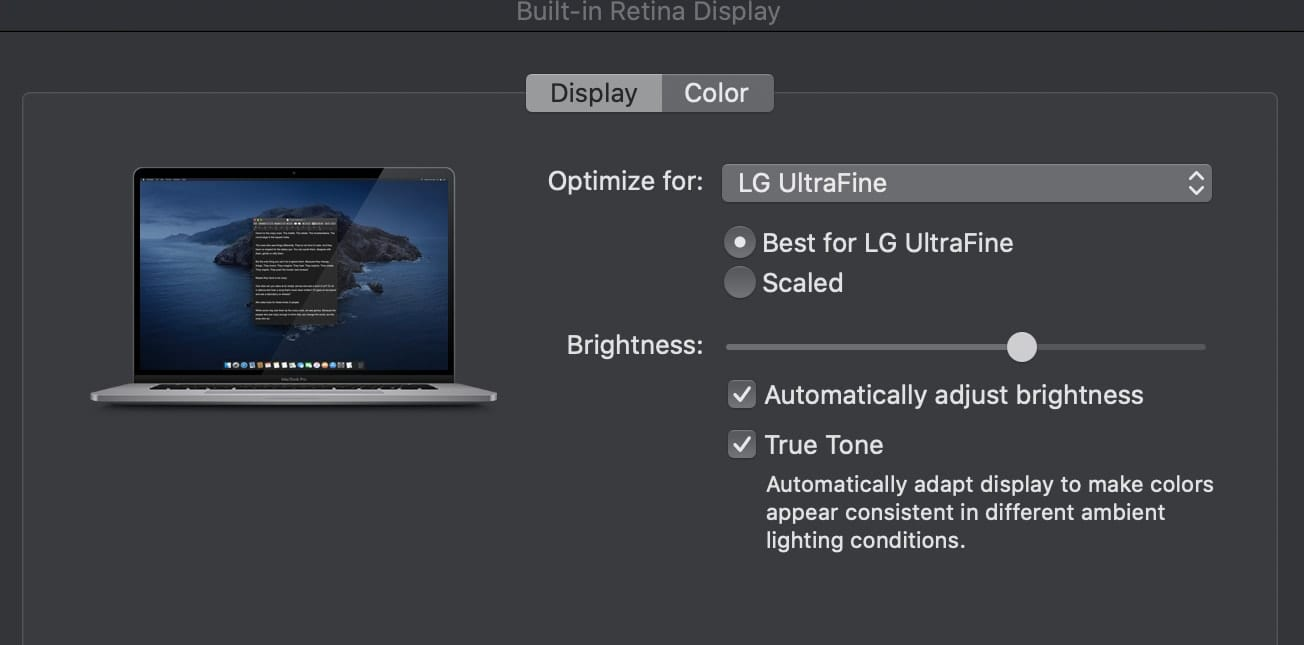 Mac Night Shift Display preferences
