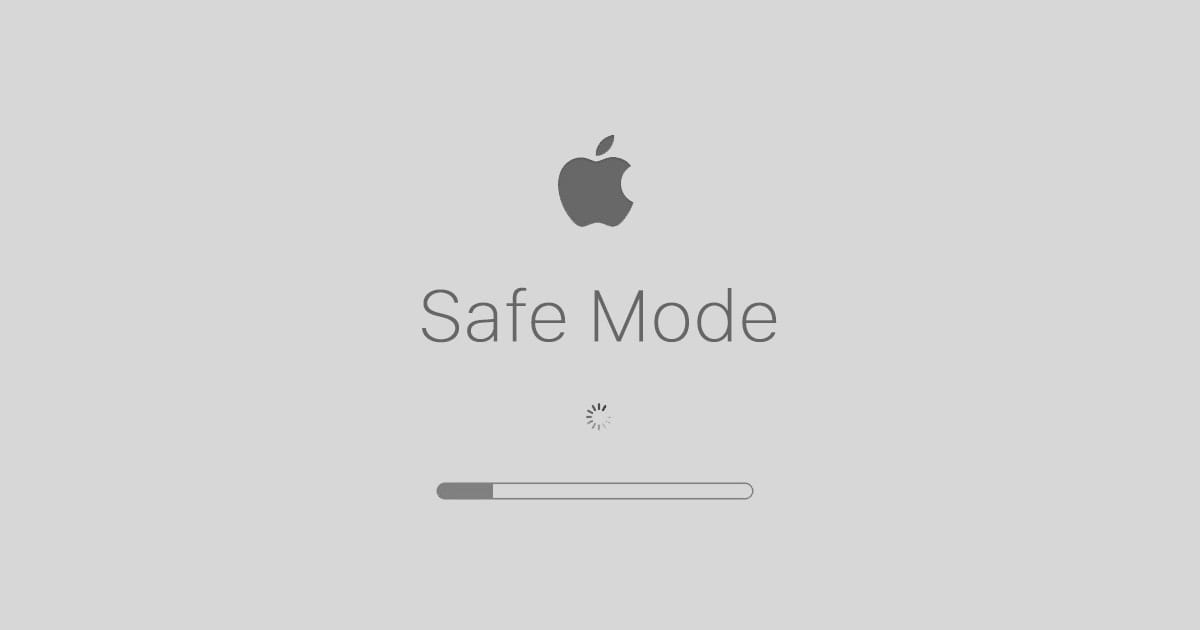 "Mac Safe Mode Startup Screen with text saying ""Safe Mode"""