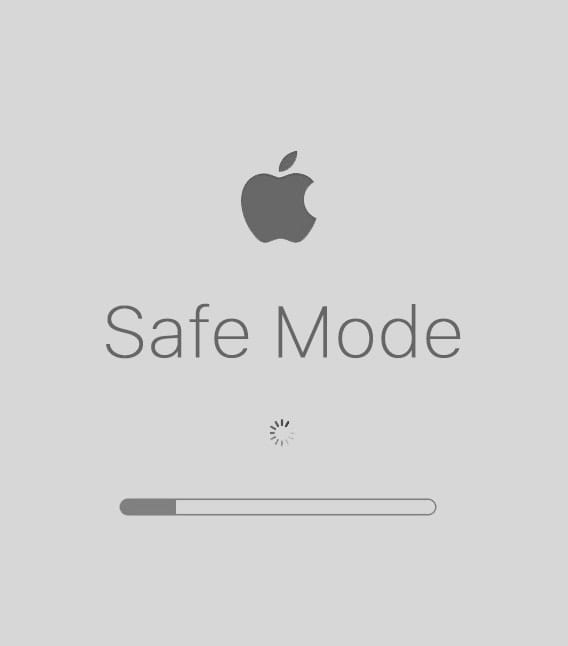 """Mac Safe Mode Startup Screen with text saying """"Safe Mode"""""""