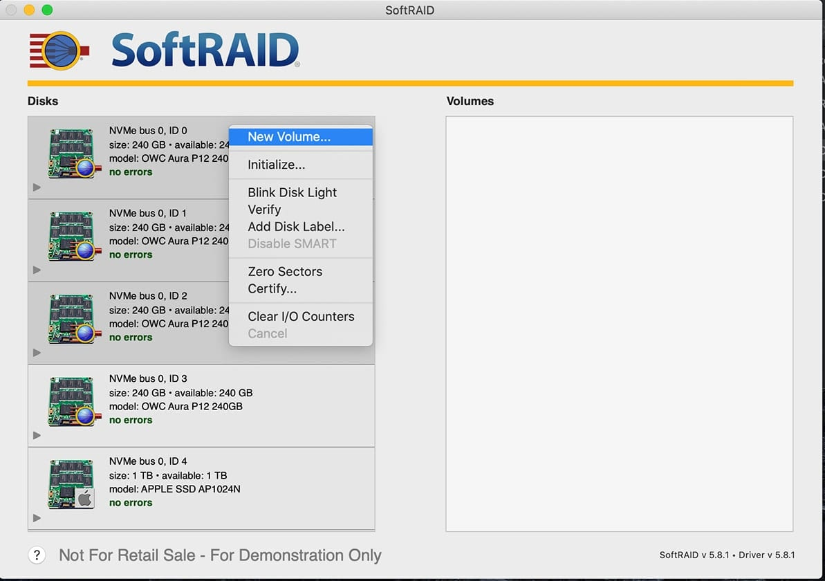 "Screenshot of SoftRAID with ""New Volume"" selected"